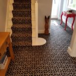 new patterned carpet in hallway and on stairs