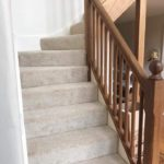 new pale grey carpet on stairs